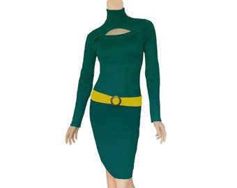 Green + Bright Gold Sweater Dress