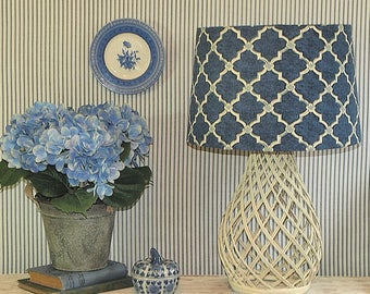 Large Australian Made Lamp Shade Blue and Ivory Trellis, Tapered Drum, 2 Sizes, 2 Fittings, Made to Order 1-2 weeks