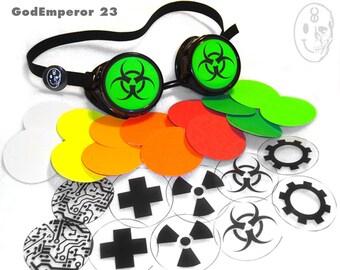GodEmperor 23 RIVET GOGGLES Cyber Rave Punk Goth emo Industrial Rivet