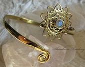 Moonstone Arm Band Tribal Brass Arm Band Sacred Geometry Arm Band Brass Arm Cuff Adjustable Arm Band Bohemian Brass Jewellery