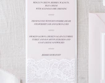 Blush Bridal Shower Luncheon Menu/Blush Menu/White Lace Menu/Christening  Menu/