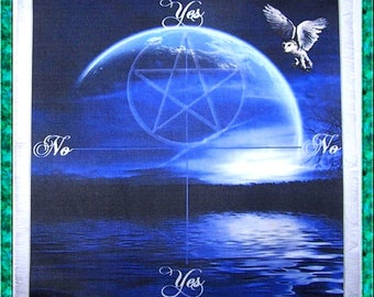 Owl & Blue Moon Scrying Mat, Dowsing wiccan Magic Divination, fairy gift