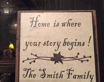 Home is where your story begins personalized sign