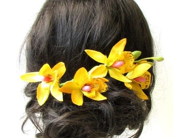 Long Yellow Tropical Orchid Flower Stem Hair Comb Fascinator Headpiece Vtg 1580