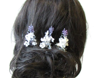 3 x White Purple Lavender Flower Hair Pins Bridal Clip Artificial Wedding 1595