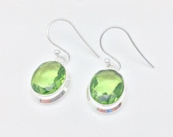 Peridot Quartz Earrings // 925 Sterling Silver // Simple Oval Setting // Green Peridot Earrings