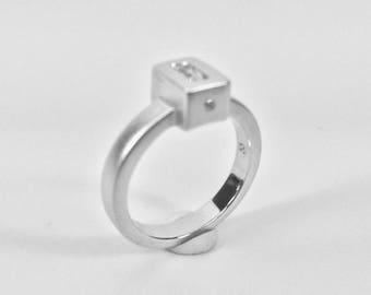 Square Cut CZ Diamond Ring // Sterling Silver Matte Rhodium Finish // Square Cut Diamond Ring