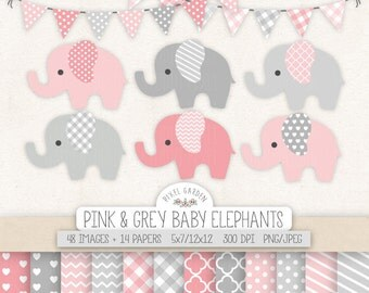 Elephant Clipart. Nursery, Baby Shower Clip Art, Digital Paper. Baby Girl Banners in Pink, Grey. Chevron, Heart, Polka Dot, Stripe Patterns
