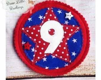 Blue & Red Birthday Age Badge, Rosette, Felt Badge, Personalised