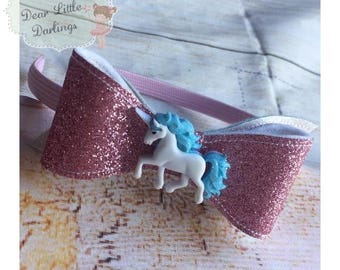 Unicorn Glitter Headband, Glitter Bow, Unicorn Hairband, Glitter Alice Band