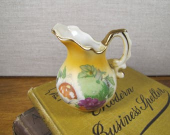 Small Porcelain Pitcher - Fruit Motif - Deep Yellow and Creamy White - Gold Accent - Matte Finish
