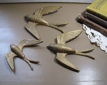 Burwood Prod. Co. - Set of Three (3) Hard Plastic Flying Birds - Wall Decor - Gold Colored Tones - Made in U.S.A.