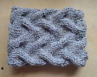 Gray Tweed Cabled Cowl - Ready to Ship