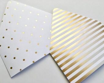 10 Gold Foil Polka Dot, Striped Envelope Liners // A7 Envelope Liner