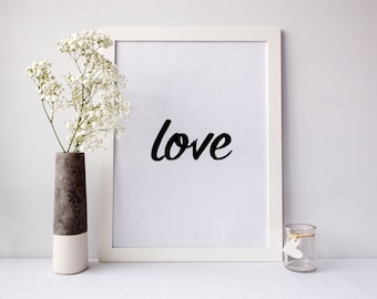 Love Printable Art, printable wall art, love wall art, love print, love poster, digital print, typography, Minimalist, wall art