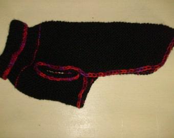 Cute little handknit dog jumper hand embroidered