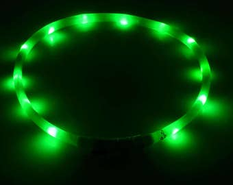 Gremlin Green LED Rechargeable Dog collar