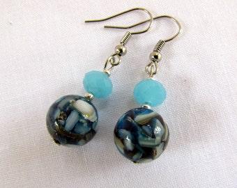Mother of Pearl Beaded Earrings ~ Original ~ Aqua Blue ~ Cut Crystal ~ Ocean Blue ~ Pierced ~ Dangle ~ Silver Tone