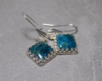 10mm Blue Apatite Diamond Gemstones Dangle Earrings set in Sterling Silver with Fancy Ear Wires