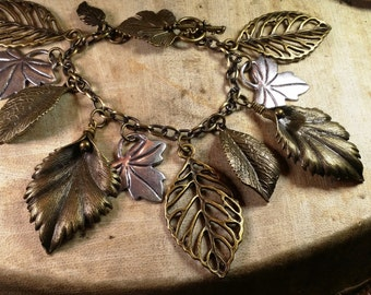 Brass and Silver Tone Metal Leaves with a Leaf Toggle Clasp, 8""