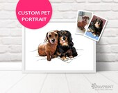 Double pet portrait Custom pet portrait of two pets, Printed digital painting, double portrait Mothers day gift pet memorial gift customised