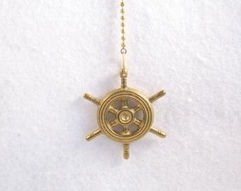 Fan Pull, Light Pull Chain. Brass Ships Wheel (FP5)