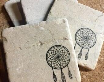 Dream Catcher Coasters ~ Set of 4 Stone Coasters ~ Stamped Coasters~ Stone Tile Coasters ~ Set of 4 Coasters