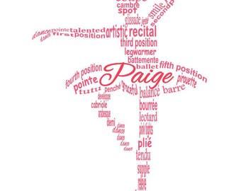 Ballerina Word Art, Ballerina Art, Dancer Art, Dancer Word Art, Ballerina Gift, Personalized Word Art Typography,  PRINTABLE DIGITAL FILE