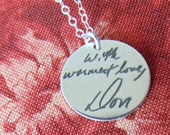 Custom Handwriting Personalized Message on Your Necklace! Child Writing or Art Etched  in Yellow Gold, Rose Gold, Sterling Silver