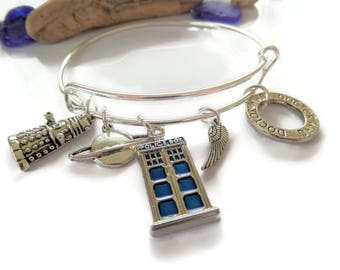 doctor who bangle, dr who bracelet, time traveller, police box, space gift, doctor jewellery, doctor jewelery, dr child bracelet