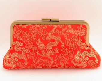 Asian Red Clutch - Rose Interior
