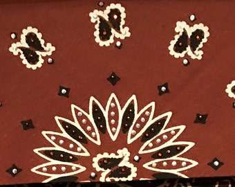 Brown Paisley Bling Bandana