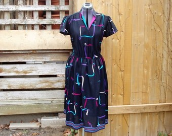 Vintage 1980's Black with Magenta, Teal and Purple AYGEE 100% Polyester Full Skirt Dress