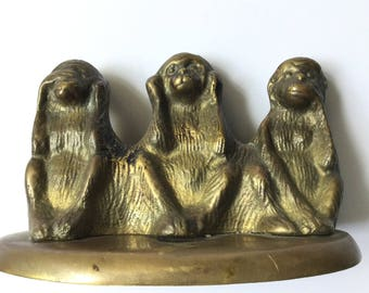 3 BRASS WISE MONKEYS Vintage Hear Speak and See No Evil