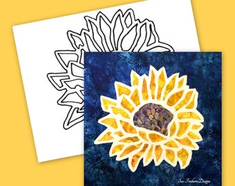 Sunflower Silhouette TEMPLATE ONLY:  Instant Download