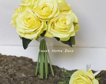JennysFlowerShop 8''W Silk Rose Wedding Bouquet Bridal Bouquet Bridesmaid Bouquet Boutonniere Colorful Roses Yellow
