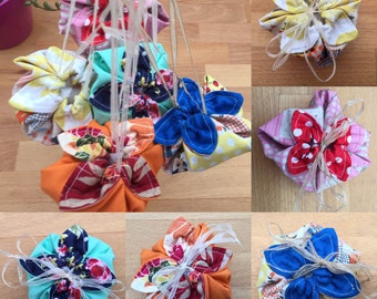 Flower Shaped Jewellery, small items, Colourful Gift pouches, Handmade, Japanese Style, Cotton Drawstring bags