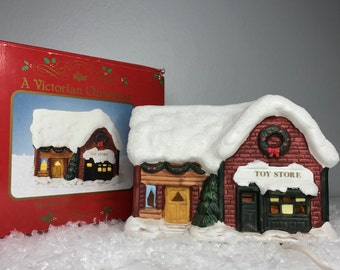 vintage Russ lighted porcelain toy store - works great and original box