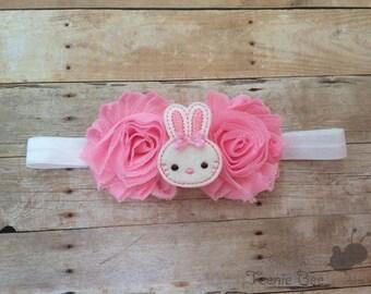 Babys First Easter Headband - Easter Bunny Headband - Baby Easter Headband - Pink Easter Headband - Easter Hair Bow - Easter Headband