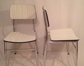 Vintage Formica white Metal Chrome year 50 x 2 Original Chair