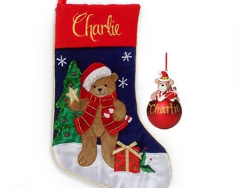 Teddy Bear Stocking and Bauble Pack