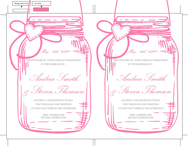 Pink Mason Jar Wedding Invitation Template, DIY Pink Baby Shower ...