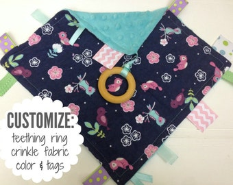 Baby Sensory Tag Blanket | Options: Natural Teething Ring, Crinkle Material, Color | Birds and Flowers