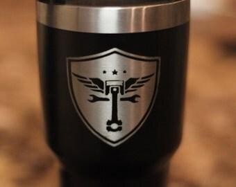 Custom Engraved Powder Coated Stainless Steel 30 oz Travel Mugs