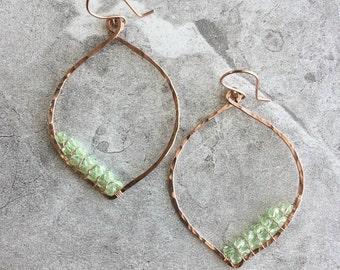 Copper Petal Hoop Earrings with Wire Woven Peridot Green Czech Crystals /Hammered Copper Hoop Earrings /Boho Crystal Earrings /Diagonal