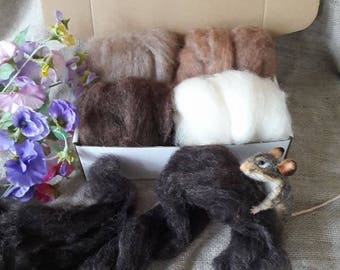 Carded Top Coat Wool The Wishing Shed - Animal Selection Colours Felting Needle Felt Batt Brown, Black mix, Tan / Ginger Fawn,