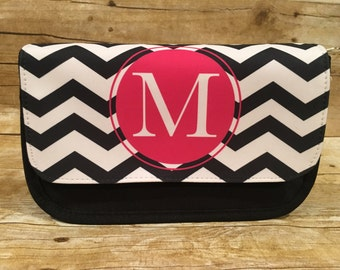 Personalized Monogrammed Black Cosmetic Bag