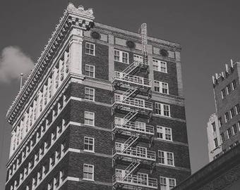 Fort Worth Texas, Sundance Square, Buildings, Red Brick, Black and White Architecture, Fire Escape, Ft. Worth Photography, Home Decor Photo