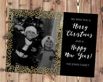 Personalized Holiday Card - Gold and black - Printable File - Quick Turnaround