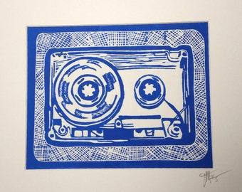 Cassette Tape Print -- Linocut
